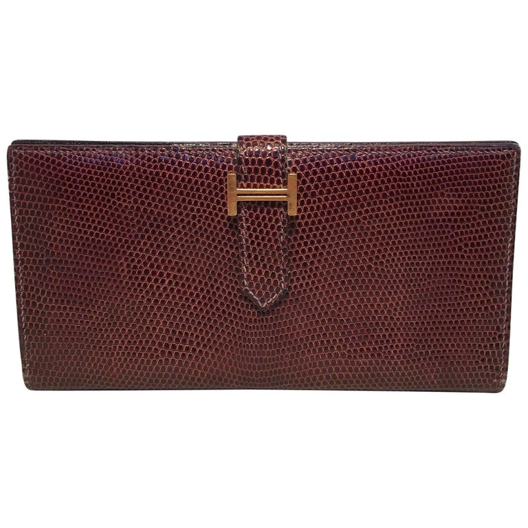 Hermes Brown Lizard Leather H Portfolio Wallet