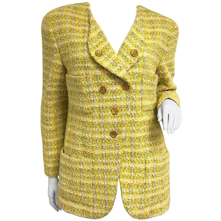 Chanel 94P Vintage Jacket Yellow Fantasy Tweed Gold CC Buttons