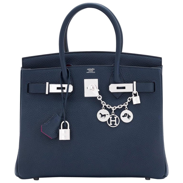 "Hermes Birkin 30 Blue Nuit ""Verso"" Rose Pourpre VIP Limited Edition Bag"