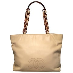 Chanel Vintage Beige Leather Tortoiseshell Chain Strap Shoulder Bag Tote