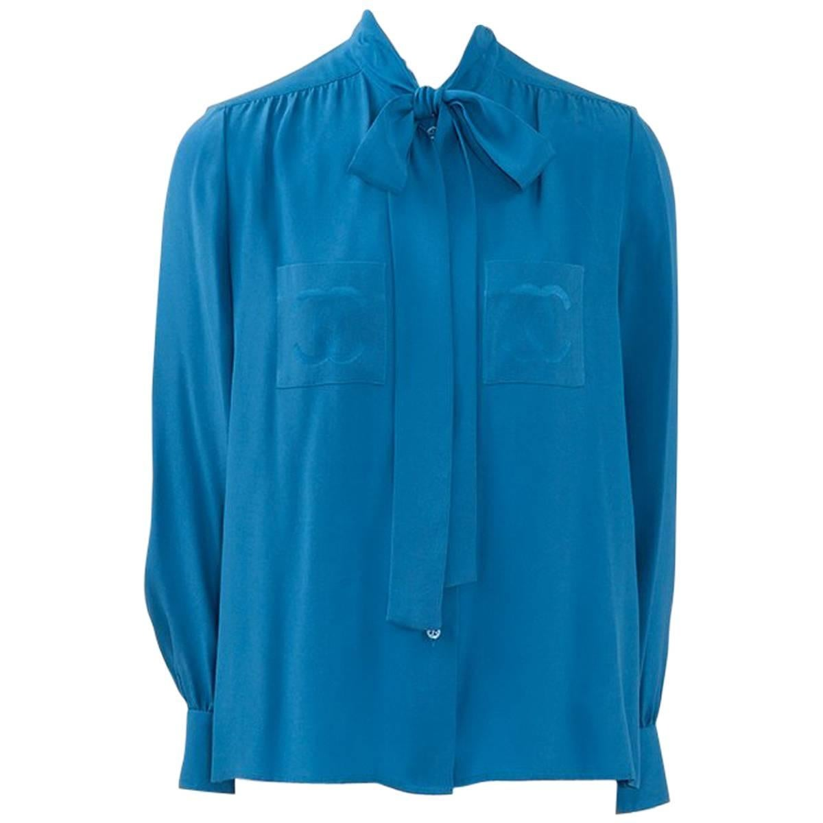 e5e1c8e0d23e89 Chanel 1980's Turquoise Silk Pussy Bow Shirt at 1stdibs