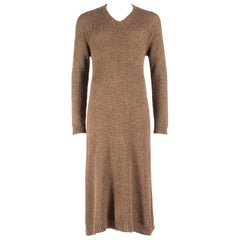 Comme des Garcons Homme Plus brown wool knitted v-neck sweater dress, A / W 1995