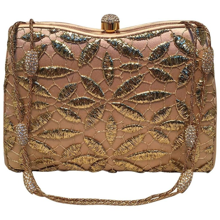 Judith Leiber Silk and Gold Embroidery Evening Bag
