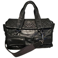 Chanel Black Aged Calfskin Quilted Classic Flap Tote Bag