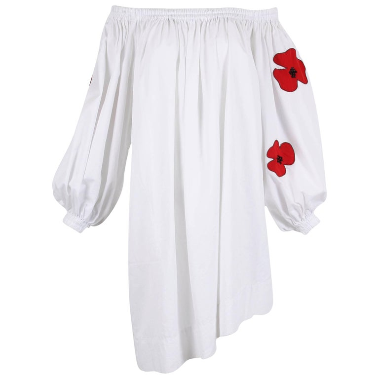 Yves Saint Laurent YSL White Cotton Asymmetric Day Dress with Poppies