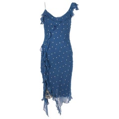 Christian Dior by John Galliano Blue Chiffon Gold Dots Bias Cut Cocktail Dress