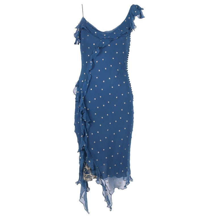 Christian Dior by John Galliano Blue Chiffon Gold Dots Bias Cut Cocktail Dress  For Sale
