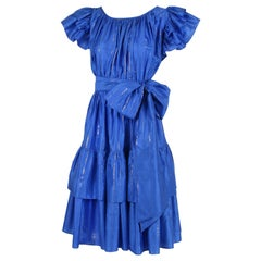 Yves Saint Laurent Blue Silk Tiered Skirt Metallic Stripes Ruffled Dress