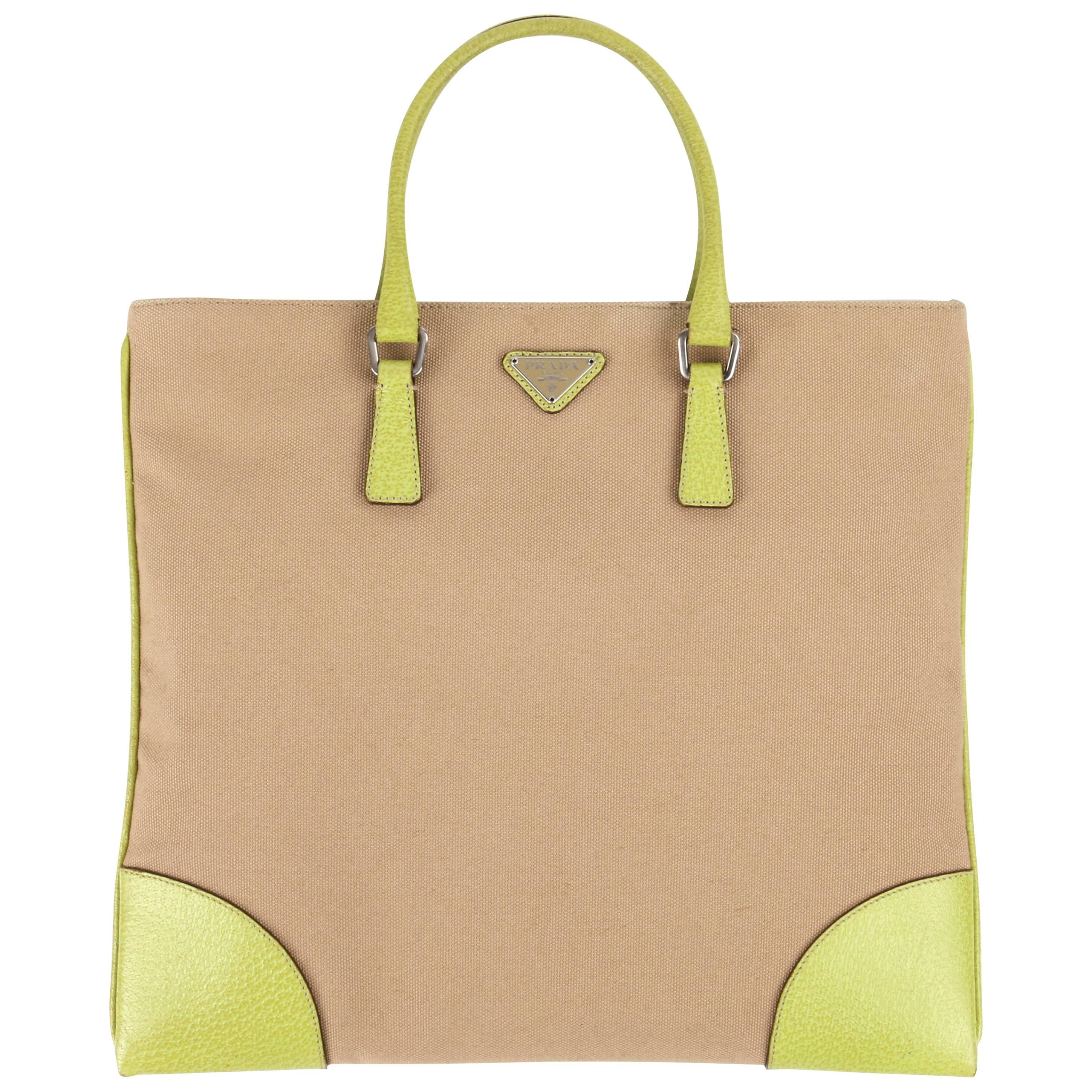 PRADA Khaki Canapa Canvas & Chartreuse Green Leather Tote Bag Purse