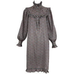 1970's Yves Saint Laurent YSL Printed Peasant Style Smock Dress w/Ruffle Trim