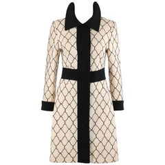 LILLI ANN Knit c.1960's Cream & Black Quatrefoil Lattice Pattern Wool Car Coat