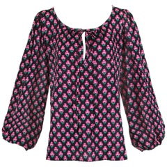 Yves Saint Laurent Pink & Black Clover Print Cotton Peasant Blouse w/Neck Ties