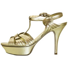 YSL Gold Leather Tribute 75 Sandals Sz 36 with Box