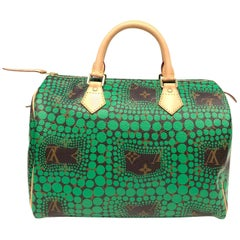 Louis Vuitton Limited Edition Green Yayoi Kusama Monogram Speedy 30 Bag