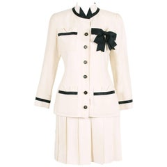 Vintage Chanel Silk Jacket & Skirt Ensemble w/Silk Bow Motif & CC Logo Buttons