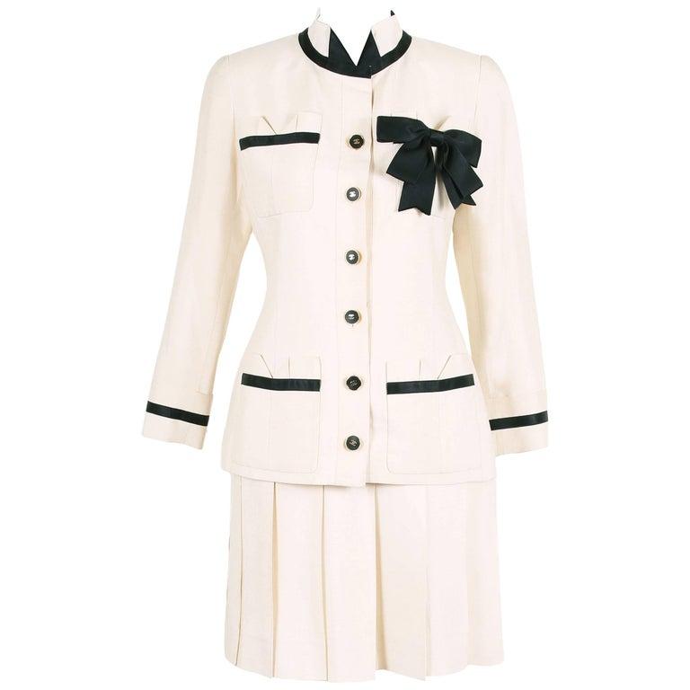 Vintage Chanel Silk Jacket & Skirt Ensemble w/Silk Bow Motif & CC Logo Buttons