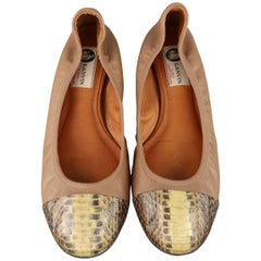 LANVIN Size 9 Taupe Leather Snake Skin Cap Toe Flats