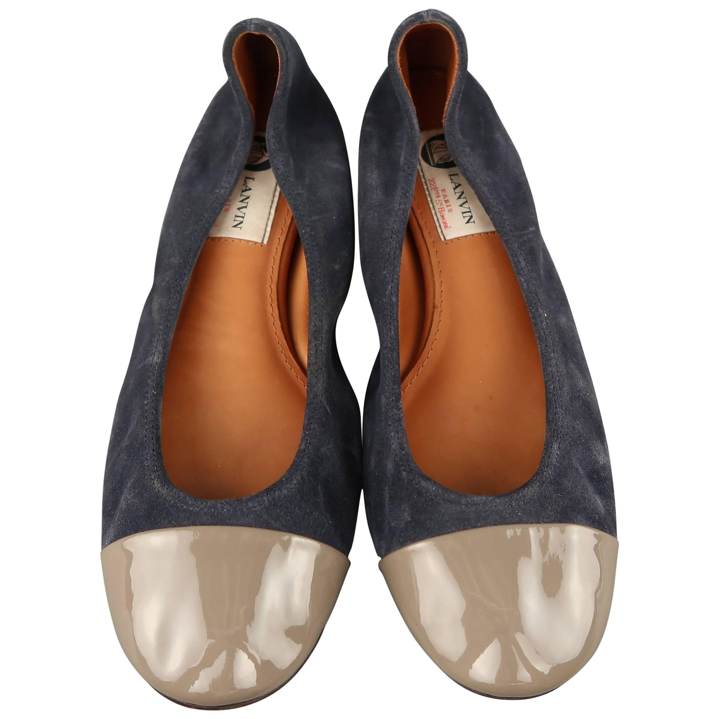 a3f2813c02752 LANVIN Size 9 Navy Suede Gray Patent Leather Cap Toe Ballet Flats at 1stdibs