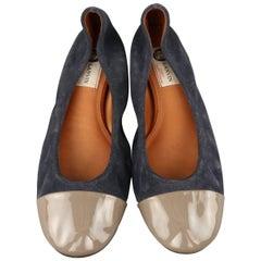 LANVIN Size 9 Navy Suede Gray Patent Leather Cap Toe Ballet Flats