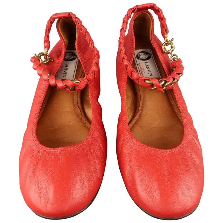 LANVIN Size 9 Red Leather Braided Chain Ankle Strap Flats