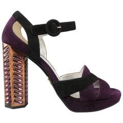 PRADA Size 8.5 Violet Suede Thick Copper Rhinestone Heel Platform Sandals