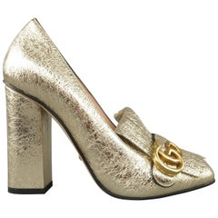GUCCI Size 8.5 Gold Crackle Leather MARMONT GG Loafer Pumps