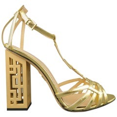CHARLOTTE OLYMPIA Size 8.5 Metallic Gold Leather T-strap Cutout Heel Sandals