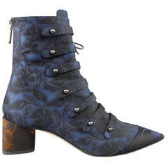 CHRISTIAN DIOR Size 8.5 Navy Jacquard Orange Block Heel Pointed Toe Ankle Boots