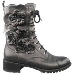 Valentino Black Leather Floral Applique Lace Up Combat Boots