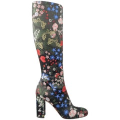 Valentino Black Multi Color Floral Embroidered Satin Knee High Boots