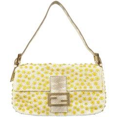 Fendi Cream and Yellow Floral Beaded Snake Skin Baguette Handbag