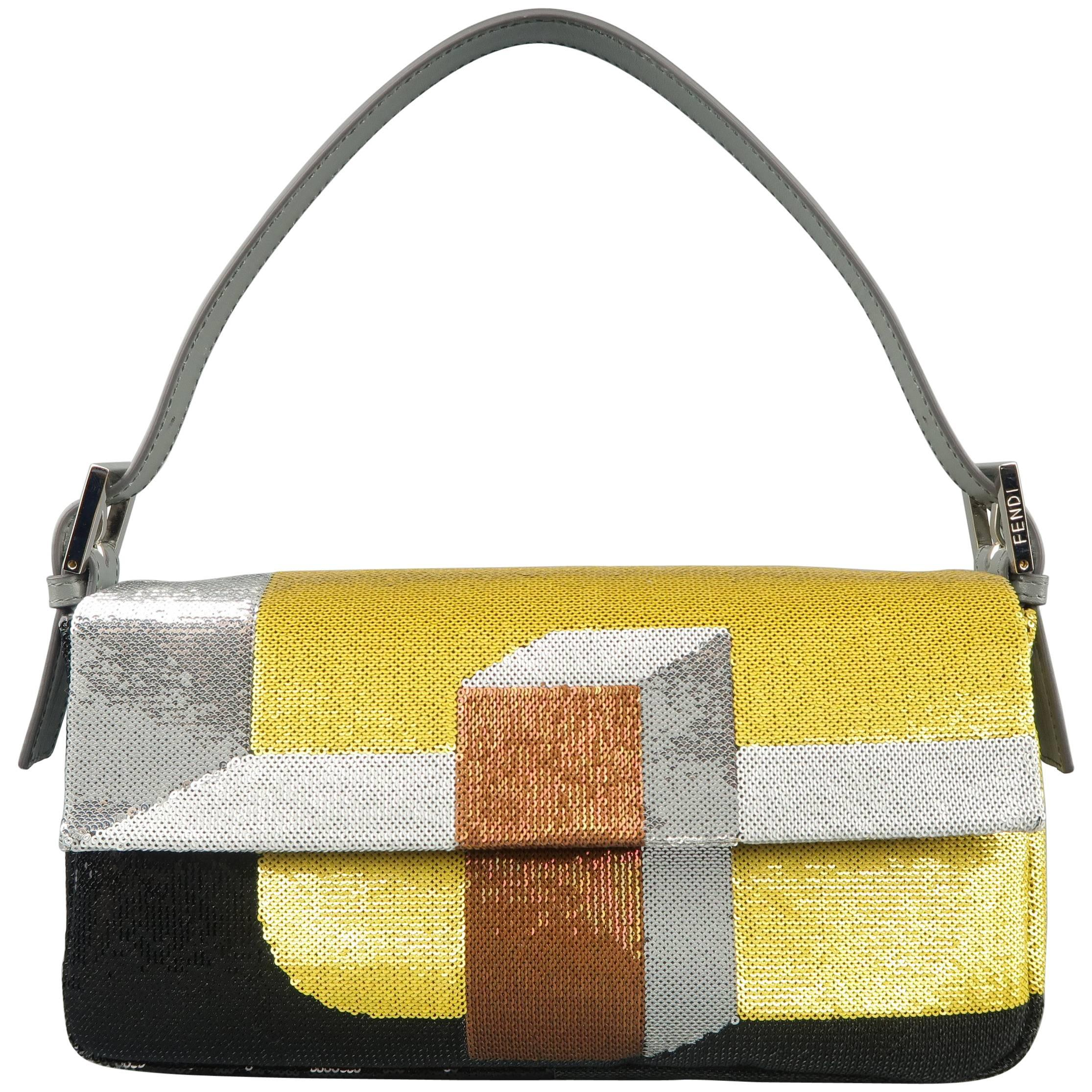 6964ec5d26 Fendi Gold Silver and Bronze Color Block Sequined Baguette Handbag at  1stdibs