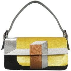 FENDI Gold Silver & Bronze Color Block Sequined Baguette Handbag
