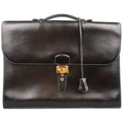 Men's Vintage HERMES Black Leather Sac a Depeches 41 Briefcase