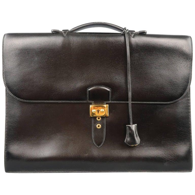 6b5641ab5201 Men s Vintage HERMES Black Leather Sac a Depeches 41 Briefcase For Sale