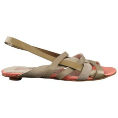 CHLOE Size 6 Taupe Suede & Patent Leather Flat Slingback Sandals