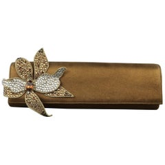 RODO Bronze Metallic Leather Rhinestone Flower Clutch Handbag
