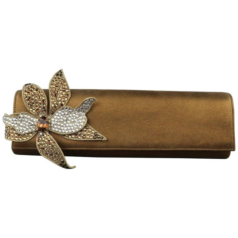 RODO Bronze Metallic Leather Rhinestone Flower Clutch Handbag
