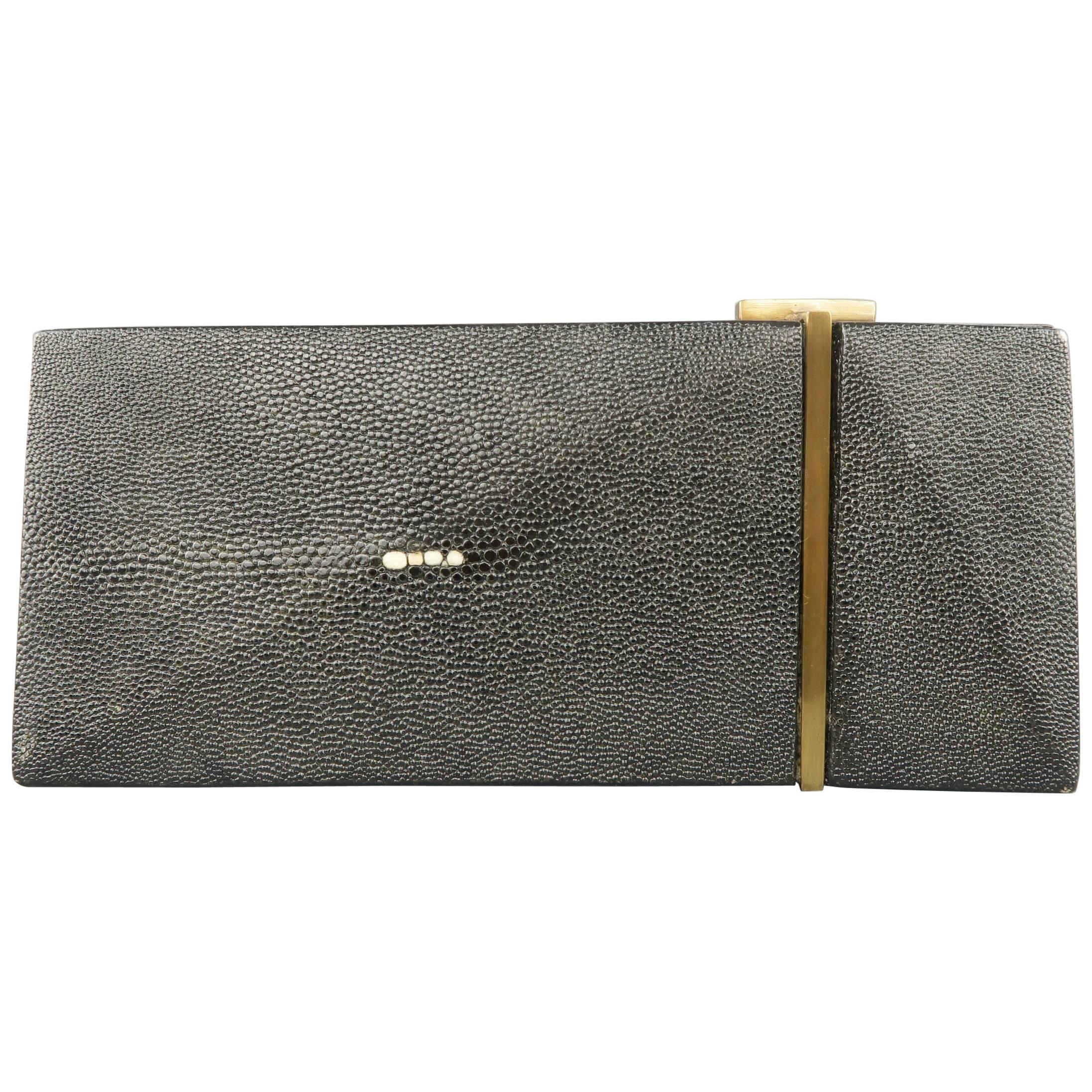 1stdibs R&y Augousti Black Stingray Leather Geometric Clutch Handbag JUDEzKOFM