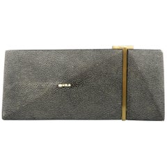 R&Y AUGOUSTI Black Stingray Leather Geometric Clutch Handbag