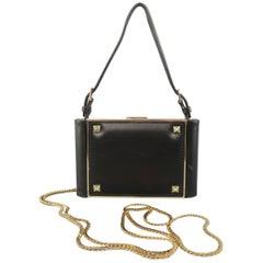VALENTINO Black Leather Gold Studded Mini Chain Strap Evening Handbag