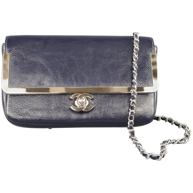 Chanel Navy Patent Leather Smoke Silver Woven Chain Mini Crossbody Handbag