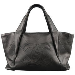 Chanel Black Chevron Embossed Leather CC Logo Mini Tote Handbag