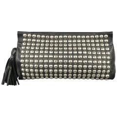 SONIA RYKIEL Black Studded Leather Tassel Clutch Handbag