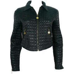 Moschino Vintage Black Chain Design Nylon Blend Padded Jacket