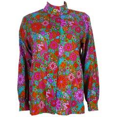 Yves Saint Laurent YSL Vintage Floral Print Shirt