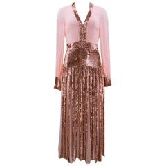 Temperley London Pink Beaded Sheer Gown