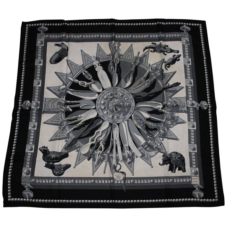 "Hermes ""Cuillers d'Afrique"" Black Silk Scarf"