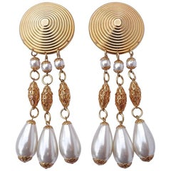 Large Gold Tone Faux Pearl Chandelier Vintage Clip On Statement Earrings
