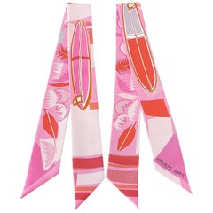 Hermes Twilly Pink Sea Surf and Fun Limited Edition Set of 2  by Filipe Jardim